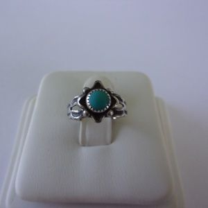 Vintage Sterling Silver Turquoise Ring Size 3